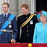 They sported their royal best as they stood with their grandmother Queen Elizabeth II during Trooping the Colour in June 2009.