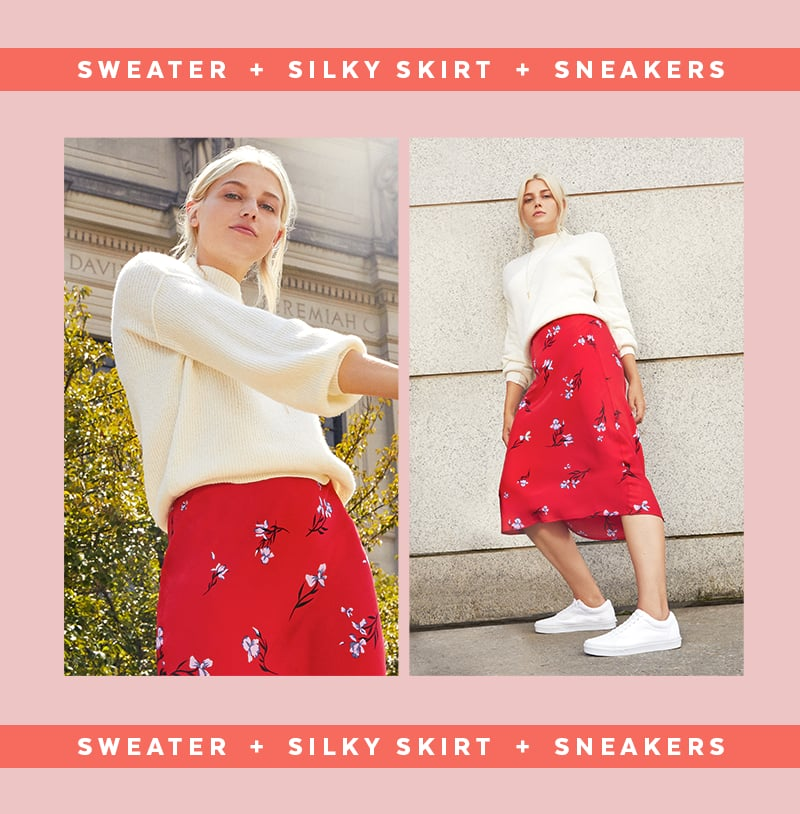 A slip skirt combined with a sweater and sneakers is THE outfit combination of the moment. It feels fresh and current and is insanely flattering on every body. While this formula is straightforward, there's so much room to put your own spin on it.  We're currently loving a bold, printed midi skirt paired with a slightly cropped chunky knit in a soft, muted hue. Sporty sneakers add a street style vibe and ensure long-lasting comfort for whatever the day throws at you.                                                                                                                                                                                                                                                                                                                              Balloon-Sleeve Funnel-Neck Sweater                                                                                                                    Buy Now                                                                                                                                                                                                                                                                                                            Midi Skirt                                                                                                                    Buy Now                                                                                                                                                                                                                                                                                                            madden NYC Brennen Sneakers                                                                                                                    Buy Now