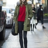 Yes, you can wear red and green, as long as you take an understated approach like this — a cozy knit and staple anorak make the color palette a whole lot less obvious. Source: Adam Katz Sinding