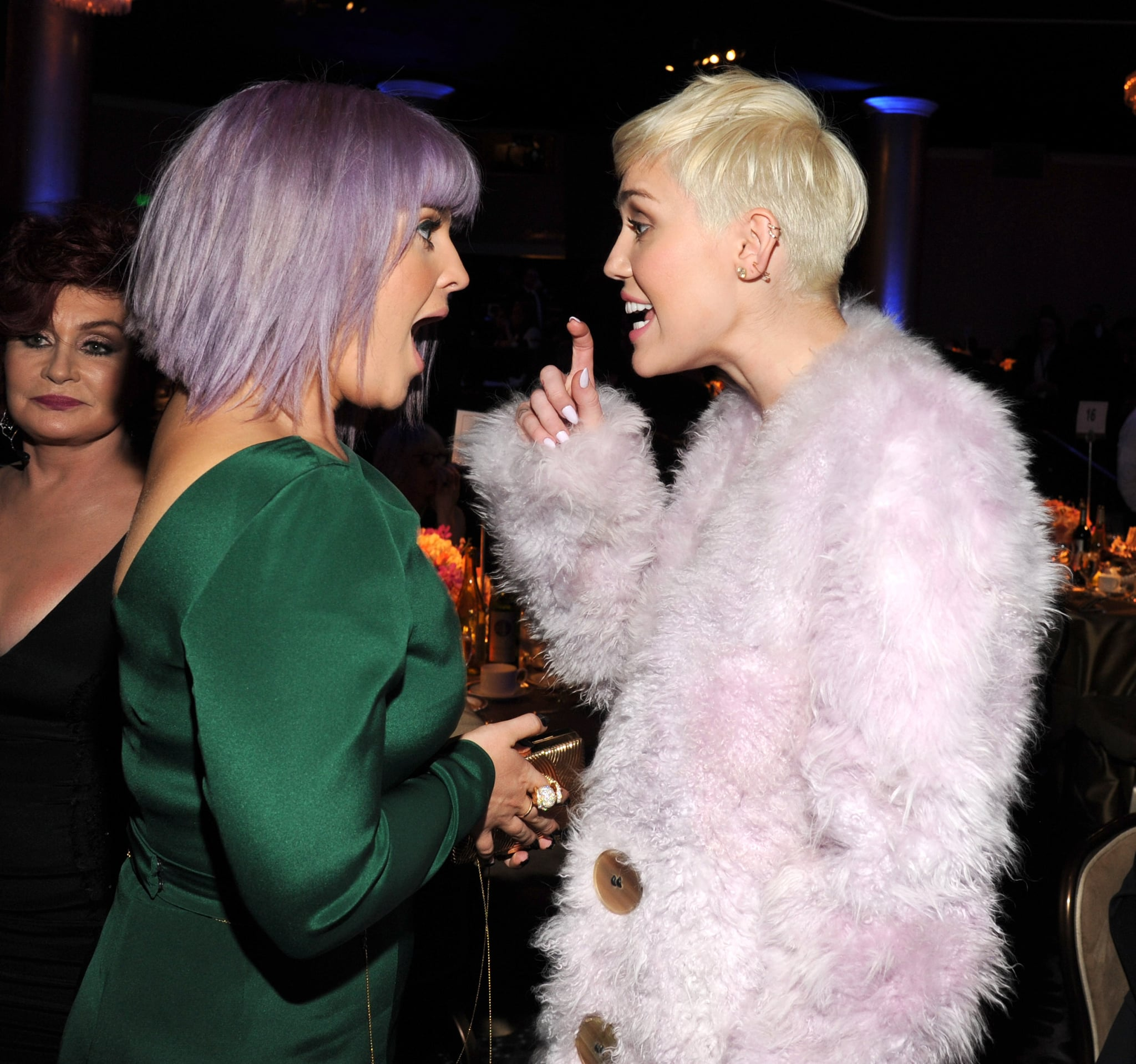 Miley Cyrus said something to make Kelly Osbourne's jaw drop at Clive Davis's annual pre-Grammys gala.