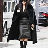 Kim Sewed a Furry Stole Onto Her Céline Coat