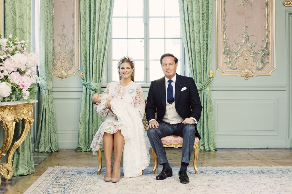 Princess Madeleine and Chris O'Neill of Sweden celebrated Princess Adrienne's royal christening in Stockholm last week, and now we have a glimpse of the official portraits. On Tuesday, the Royal Court released four photographs from the affair, which were snapped by photographer Erika Gerdemark at Drottningholm Slott Palace.  The pictures feature Adrienne with her proud parents, as well as Madeleine's parents, King Carl XIV and Queen Silvia, and Chris's mother, Eva Maria Walter. Adrienne's six godparents — Coralie Charriol Paul, Nader Panahpour, Natalie Werner, Anouska d'Abo, Gustav Thott, and Carlotte Kreuger Cederlund — also make a special appearance in one of the portraits. And as an added bonus, a solo photo of Madeleine was included in honor of her 36th birthday, which was on June 10.  Madeleine and Chris welcomed Adrienne into the world back in March. The little one joins the couple's other kids, Princess Leonore, 4, and Prince Nicolas, 2, however, they did not appear in any of the portraits. Hopefully Madeleine shares even more sweet family moments on her Instagram soon!