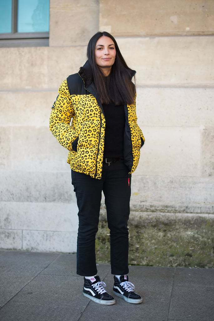With a Patterned Puffer Jacket and Straight-Leg Jeans