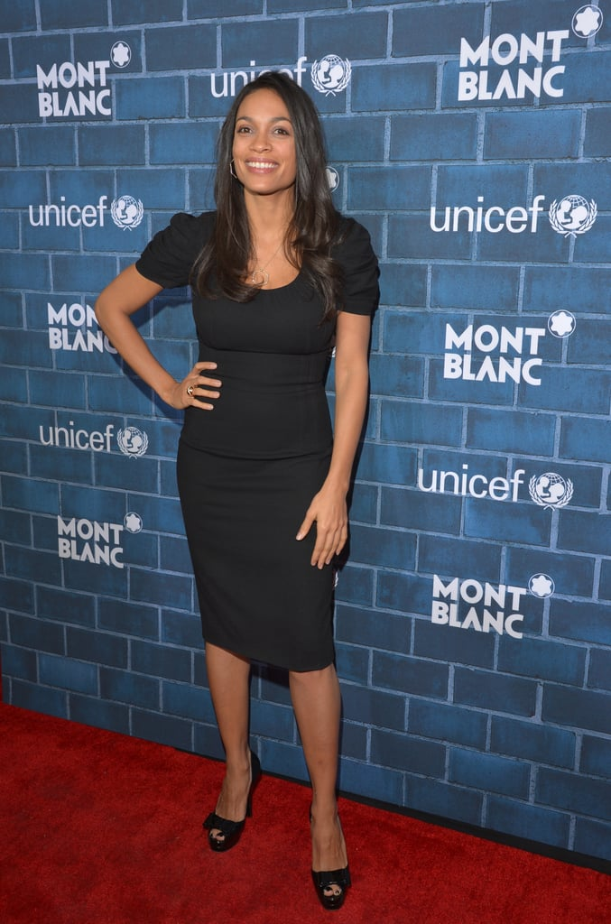 83cf8c0f4b7b Rosario Dawson went classic in a black sheath dress and peep-toe pumps at  the