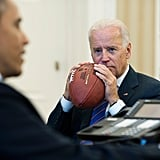 He and Joe Biden hold footballs during conference calls.