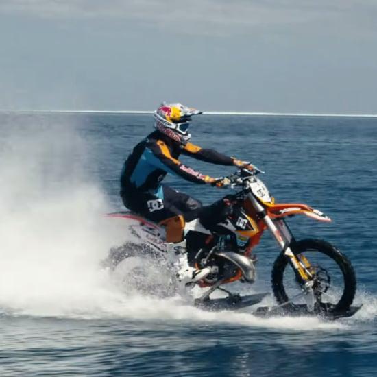 Aussie Stunt Rider Surfs Tahitian Waves on a Dirt Bike