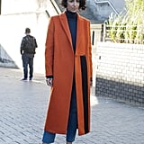 Yasmin Sewell works the statement coat like nobody else.