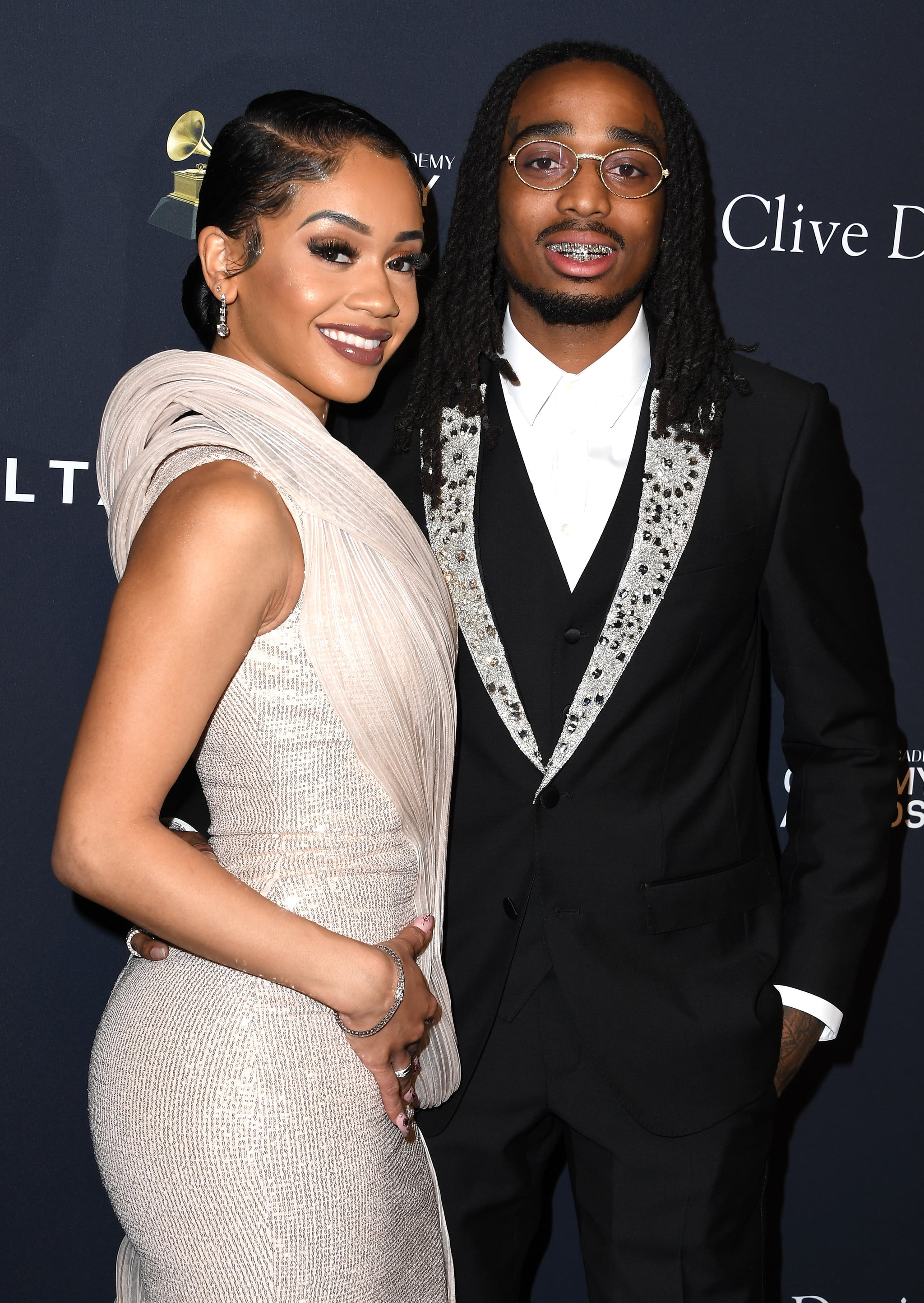 BEVERLY HILLS, CALIFORNIA - JANUARY 25: Saweetie and Quavo arrives at the Pre-GRAMMY Gala and GRAMMY Salute to Industry Icons Honouring Sean