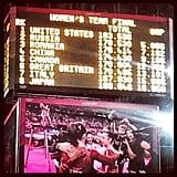The scoreboard showed the US women's gymnastics team's big win.  Source: Twitter user USOlympic