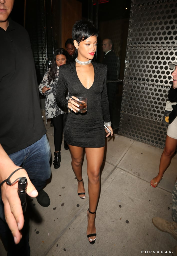 Rihanna wore a tight black dress to the VMAs afterparty.