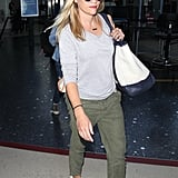 Reese Witherspoon's color combo of gray, green, and white will always seem crisp and clean — no matter what you've got on!