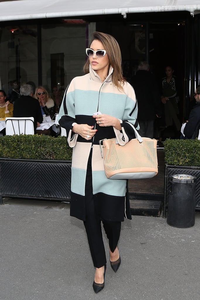 Jessica Alba in Pastel Chloé Coat