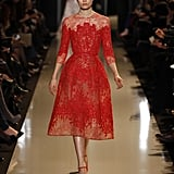 We have a feeling Taylor Swift would be drawn to this sweet red number due to its more modest neckline, delicate details, and oh yeah, it just happens to be made in one of her favorite colors. Source: Courtesy of Elie Saab