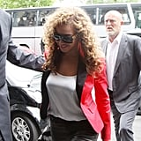 Beyoncé looked gorgeous in a red blazer and leather pants in Paris.