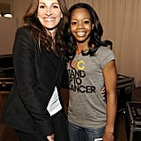 Julia and Olympic gymnast Gabby Douglas smiled backstage at an LA Stand Up to Cancer event in September 2012.