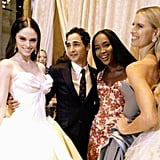 Zac Posen posed with a bevy of beauties — Coco Rocha, Naomi Campbell, and Karolina Kurkova — after his dramatic runway show. Source: Twitter user cocorocha