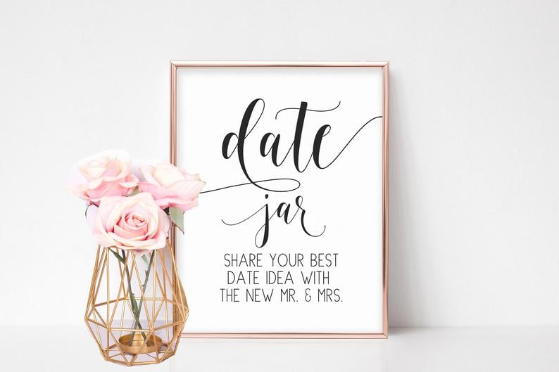image relating to Jar Printable identified as Day Jar Printable Bridal Shower Recreation Printable Bridal