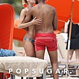 Doutzen Kroes and her husband, Sunnery James, kissed on the beach.