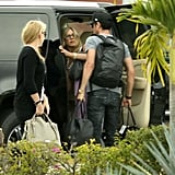 Justin Theroux talked to Jennifer Aniston as they prepared to leave Cabo.
