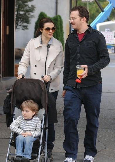 Rachel Weisz takes a walk with her family