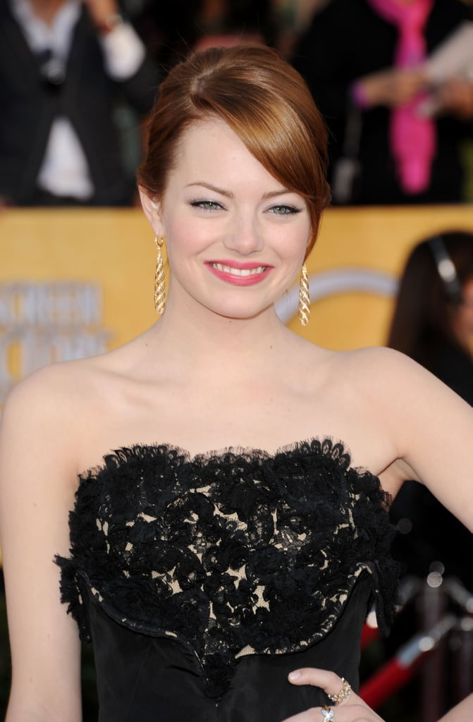 Emma Stone smiled on the red carpet at the 2012 SAG Awards.