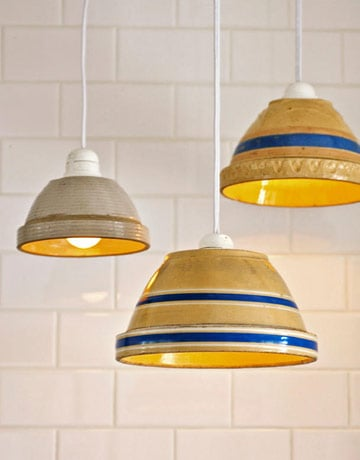 Repurpose bowls as country cozy lamp shades. Source: Country Living Magazine