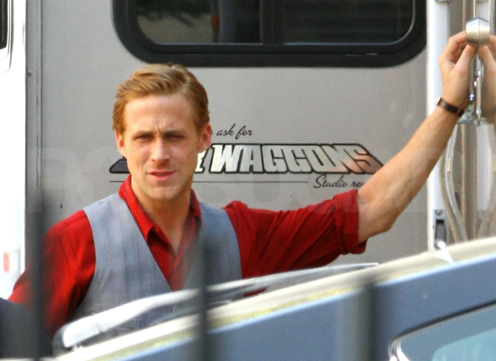 Ryan Gosling  by his trailer.