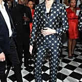 Evan Rachel Wood showed off a printed suit while celebrating the Globes at W's party.