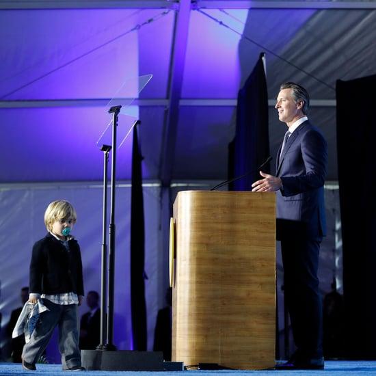 Gavin Newsom's Son Crashes Inaugural Speech