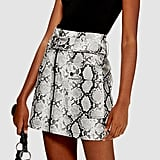 Topshop Snake Print Leather-Look Belted Mini Skirt ($74.95)