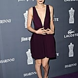 Rooney Mara took the modern approach to elegance in a low-cut plum-hued dress.