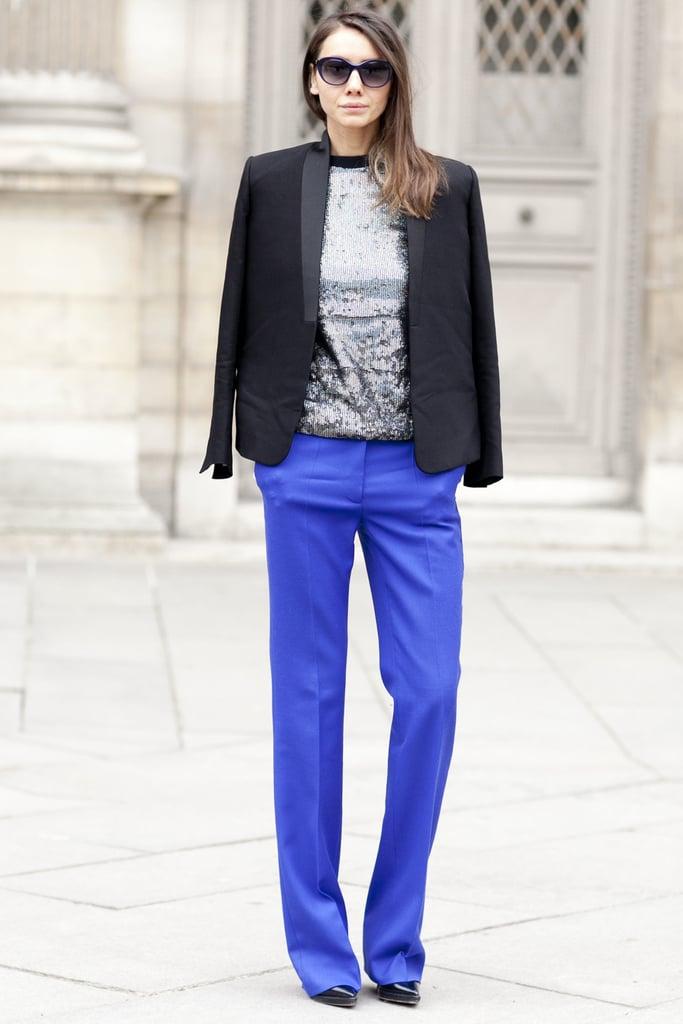 We love the striking contrast between vibrant trousers and gunmetal metallics.