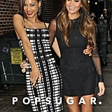 Ariel Meredith and Chrissy Teigen joked around in front of the studio.