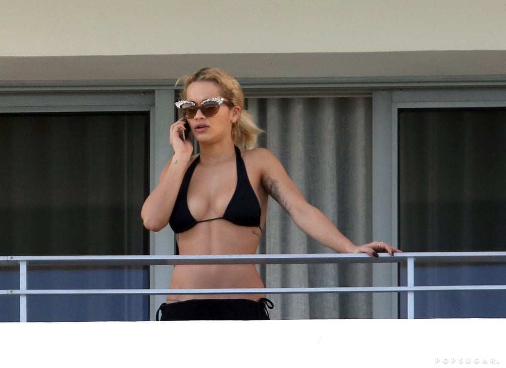 Rita Ora took in the view from her Miami hotel room in November.
