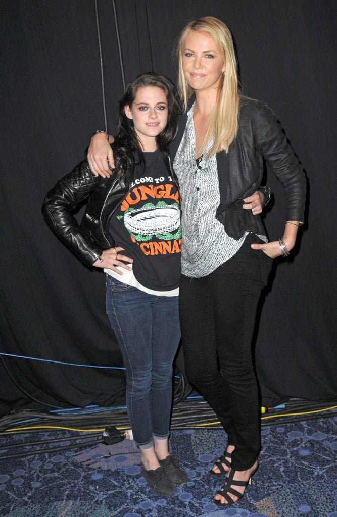 "Charlize Theron and Kristen Stewart got to know each other while filming Snow White and the Huntsman last year and became fast friends. Charlize told Access Hollywood of Kristen, ""I really, I really, really love that girl. I love that girl, like, I would jump off a building for that girl. She's amazing, she's amazing."""