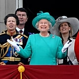 Pictured: Princess Anne, Timothy Laurence, Queen Elizabeth II, and Sophie, Countess of Wessex.