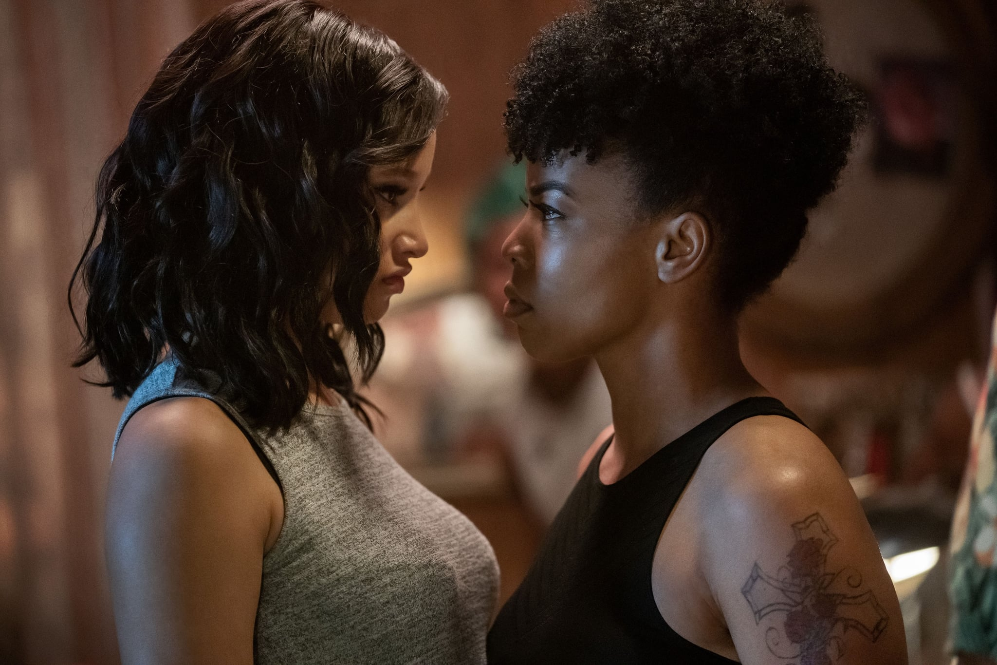 P-VALLEY, from left: Elarica Johnson, Brandee Evans, Scars, (Season 1, ep. 102, aired July 19, 2020). photo: Jessica Miglio / Starz / Courtesy Everett Collection