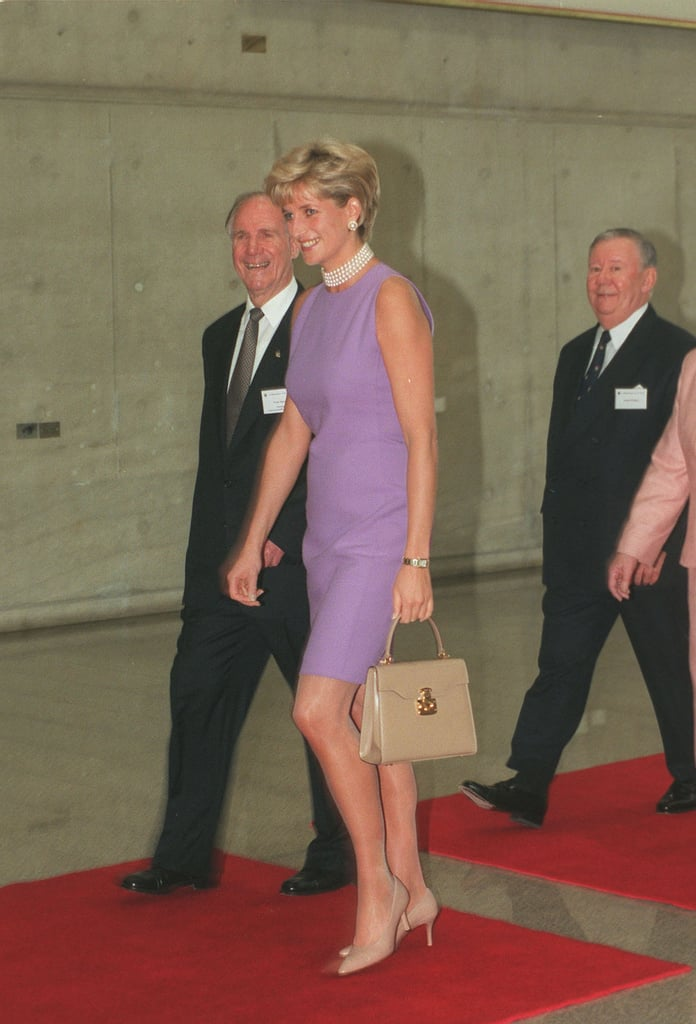 The royal wore a beige pair of Jimmy Choo pumps with her purple dress in 1996.