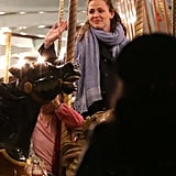 Jennifer Garner rode the merry-go-round on the fairgrounds in New Orleans.