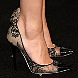 Selena Gomez showed off her sophisticated taste in footwear, wearing lacy heels.