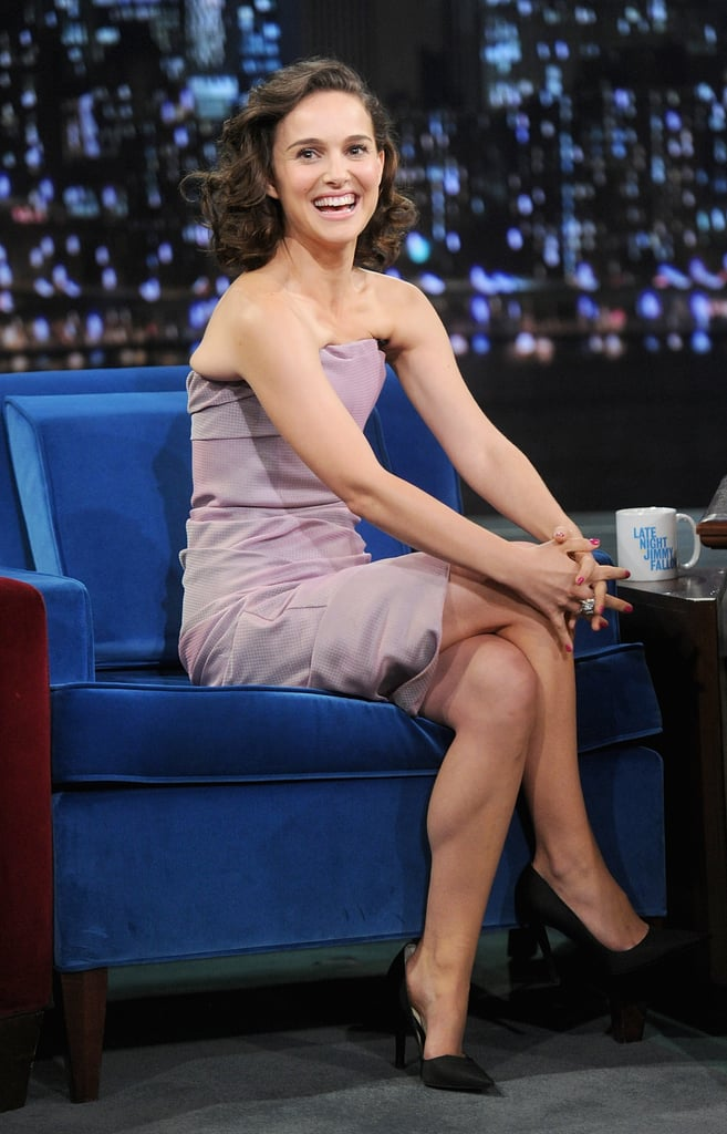 Natalie Portman wore a dusty-rose strapless Christian Dior dress for her appearance on Late Night With Jimmy Fallon.