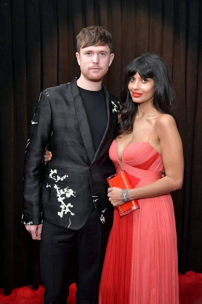 Jameela Jamil Goldfish Earrings at the 2019 Grammys