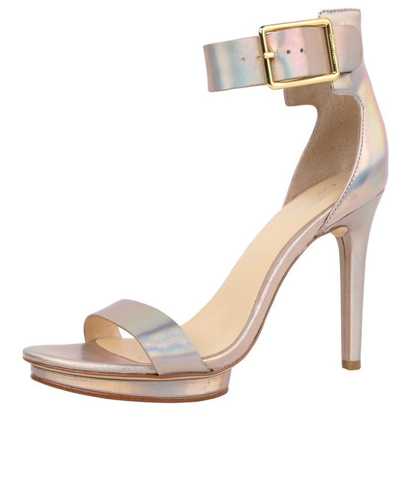 How cool is the iridescent hue on these Calvin Klein Loris sandals ($111)?