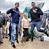Shawn Johnson jumped around with swimmers Ricky Berens and Conor Dwyer.  Source: Instagram user shawnjohn08