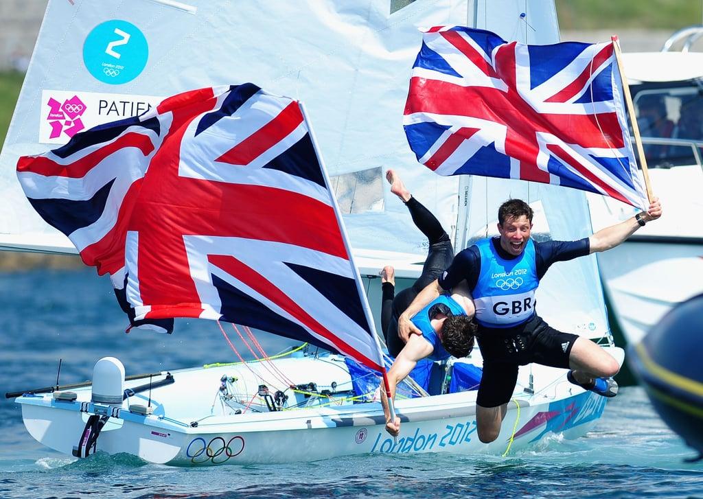 Sailors Luke Patience and Stuart Bithell of Great Britain were joyful after winning silver.