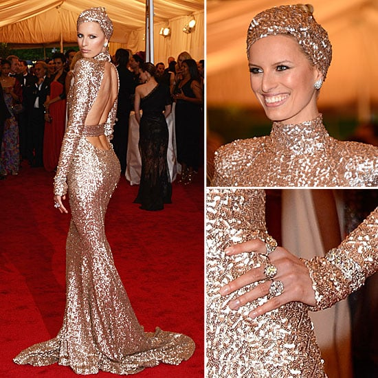 Pictures of Karolina Kurkova from all angles in Custom Rachel Zoe Designed Sequin Gown at Turban at the 2012 Met Gala