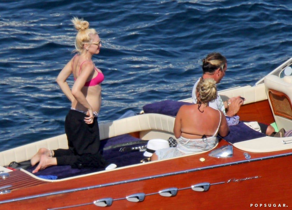 Gwen Stefani wore a pink bikini top in the South of France.