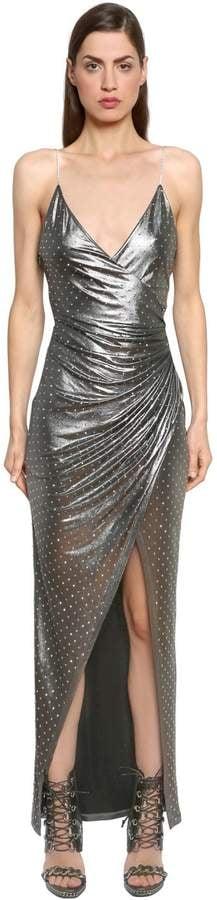 Balmain Embellished Lamé Jersey Dress