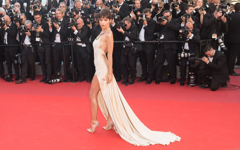 Emily Ratajkowski stunned on the red carpet in a slinky Twinset gown and Bulgari necklace during her first Cannes outing in 2017.