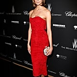 Karlie Kloss dazzled in red at the soiree.
